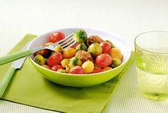 Gehaktballetjes met krielaardappeltjes en spruitjes