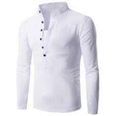 Long Sleeve Grandad Collar Button T Shirt - ARMY GREEN L Grandad Collar  Shirt, Grandad 937e554de892