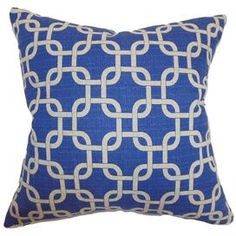"""Plush down pillow with a cotton cover. Showcases a link motif in navy blue and white.    Product: PillowConstruction Material: Cotton cover and down fillColor: BlueFeatures:  Insert includedHidden zipper closureMade in the USA Dimensions: 18"""" x 18""""Cleaning and Care: Spot clean"""