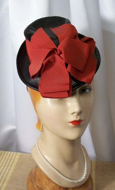 Circa Late 30s to 40s Black Leather Toy Tilt Topper Hat with Huge Red Bows