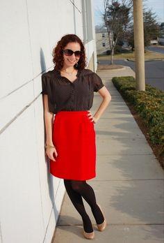 red skirt + polka dot shirt
