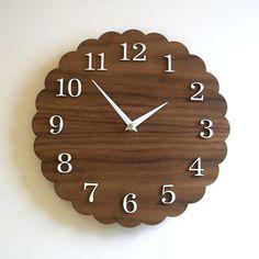 Modern Clock 11 inches Walnut Finish Scalloped by decoylab on Etsy