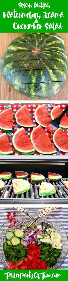 Spicy, Grilled Watermelon Jicama & Cucumber Salad... it's so fresh AN...