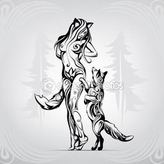 Meeting of foxes in woods — Stock Illustration Tribal Animal Tattoos, Tribal Drawings, Tribal Wolf Tattoo, Tribal Animals, Wolf Tattoos, Body Art Tattoos, Tattoo Drawings, Art Drawings, Sleeve Tattoos