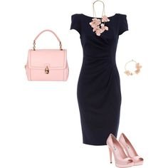 Navy Dress. A navy dress in a traditional silhouette is a staple for any wardrobe. The pale pink accessories are a great way to show your girly side, but feel free to play around with colors like orange, green and yellow to complement this dress. For formal presentations or interviews, layer a navy or beige blazer.