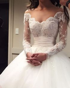 Fashion Ball Gown Wedding Dresses Off-the-Shoulder Sweep/Brush Applique  #BridalDresses #WeddingGowns #Wedding #WeddingDresses