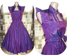 Vintage 50s Atomic Purple Full Sweep LUCY Dress   & Bolero Jacket by IntrigueU4Ever, $125.00