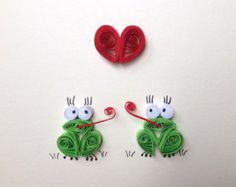 Valentines Card, Red Heart and green frogs, Quilling Art, Funny Card, Blank Card, Love Friendship Card