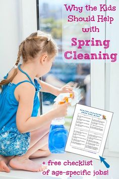 Why it's important for kids to help with Spring cleaning + FREE checklist of chores by age!