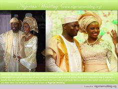 Contemporary take on the Nigerian traditional engagement outfit. For the Yoruba bride, lace buba (blouse), aso-oke iro (wrapper) & gele (head tie). For the Yoruba groom, damask-lined aso-oke agbada for the groom.