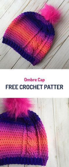 Ombre Cap Free Crochet Pattern #crochet #yarn #crafts #style #fashion