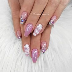 Pink Nails With Glitters No Harmful It made With Environmentally friendly materials that will be good to your health. Get Ready For Unique Look For Anniversary with Pink Nails. Sexy Nail Art, White Nail Art, Sexy Nails, Cute Nails, Pretty Nails, Red Sparkly Nails, Blue Glitter Nails, Glitter Hair, Black Nails