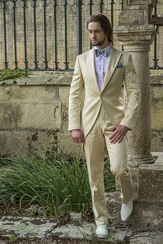 Abito da cerimonia uomo Demi - Tight in raso cotone beige / Short-Tailed Fashion Suits in Beige Cotton Satin / Trajes de novio semilevita raso algodón beige
