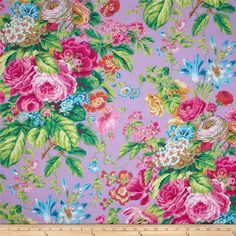 Kaffe Fassett Floral Delight Lavender Fabric By The Yard Flower Drawing Images, Shabby Chic Shower Curtain, Textiles, Gorgeous Fabrics, Cotton Quilts, Cotton Fabric, Floral Fabric, Floral Prints, Floral Bouquets