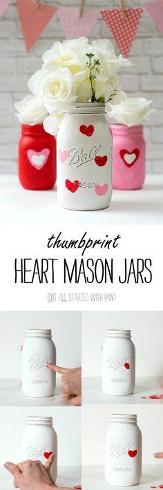 Mason Jar Craft Ideas for Valentines Day - Painted Distressed Mason Jars with Thumbprint Hearts @iaswp