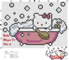 Hello kitty in the tub pattern (click to view)