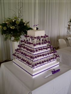 Purple & White Cakepop Wedding Cake By CreativeCakepops on CakeCentral.com