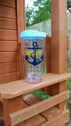 Anchor Tumbler Personalized Anchor Tumbler by JustABrushAndPaint