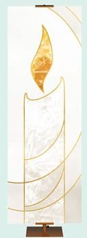 Liturgical Banner White Candle - All Saints Day