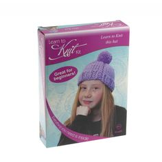 Create this knitted bobble hat ideal for children 6yrs and beginners Kit contains yarn 8mm circular knitting pins plastic sewing needle pom pom maker