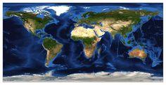 World Satellite Map With Van Der Grinten Projection - Whole world satellite map