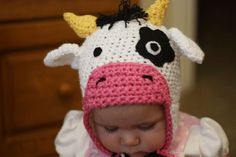 Custom Crochet Cow Hat Beanie With Earflaps and Braids - Newborn to Adult Sizes Bonnet Crochet, Crochet Cow, Crochet Kids Hats, Crochet Beanie, Crochet Crafts, Crochet Projects, Free Crochet, Crocheted Hats, Knitting Patterns