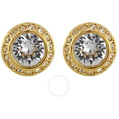 Swarovski Angelic Gold-Plated Pierced Earrings 1081941 (16 KWD) ❤ liked on Polyvore featuring jewelry, earrings, gold plated jewellery, earring jewelry, gold plated jewelry and gold plated earrings