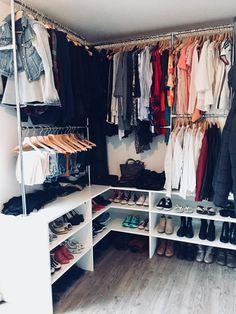 Apartment Closet Organization, Bedroom Closet Storage, Master Bedroom Closet, Storage Room, Organization Ideas, Storage Ideas, Closet Rooms, Basement Closet, Wardrobe Storage