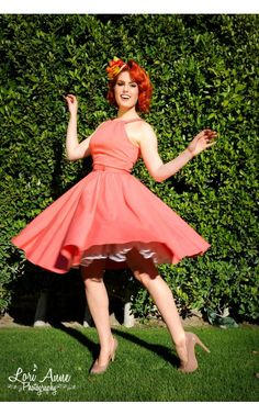 Harley Dress in Peach Sateen