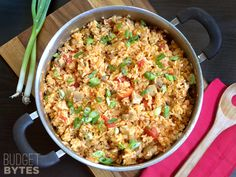 Chorizo Chicken Jambalaya |  Mexican chorizo, savory aromatic vegetables, and rice all cook together in one pot to make a super satisfying dish.