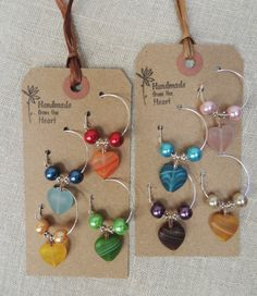 Set of 4 8 Wine Charms Drink Tags Colorful by IndigoStudioVintage