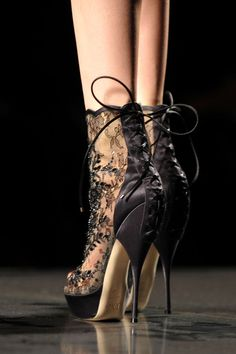 Dior #runway #style #fashion high #heel black #lace #shoes