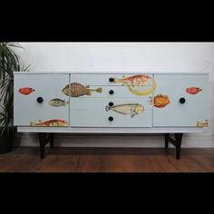 Upcycled Lebus sideboard with Fornasetti 'Acquario' by Cole & Son #coleandson #cupboard #decoupage #design #fish #fornasetti #furniture #interior #lebus #midcentury #retro #storage #sideboard #tvunit #upcycle #vintage