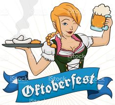 Pretty Blonde Waitress in Dirndl Serving Traditional Sausages of Oktoberfest