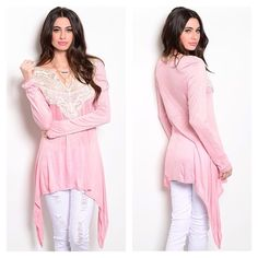 ON SALE!Pink Cream Top with Lace Brand New Longsleeved Pink Cream Knit Top featuring crochet overlay along yoke, trapeze fit with an asymmetrical hemline. Soft and lightweight...100% Rayon. Brand NewNo TradesPrice Firm Unless Bundled**Note these run big and can also fit up to a large** LDB Tops