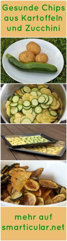 Der Snack am Abend ist ungesund und macht schnell dick. Dabei kann man leckere u… The snack in the evening is unhealthy and quickly makes you fat. It is easy to make delicious and healthy potato chips and zucchini crisps yourself. Zucchini Chips, Healthy Snacks, Healthy Eating, Healthy Chips, Vegan Recipes, Snack Recipes, Healthy Potatoes, Good Food, Yummy Food