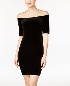 B Darlin Juniors' Off-The-Shoulder Velvet Bodycon Dress