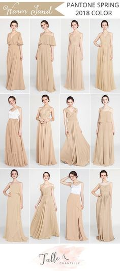pantone 2018 spring color warm sand bridesmaid dresses