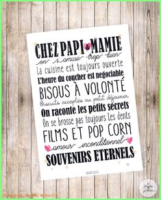 """Affiche """"Chez Papi & Mamie"""" ou """"Chez Mamie"""" Photo quality poster to offer to your Grandparents! Ideal as a gift for Grandmothers Day! format: 21 x Frame not included. Cadeau Grand Parents, Grandmother's Day, Grands Parents, A4 Poster, Messages, Lettering, Positive Attitude, Kids And Parenting, Cool Words"""