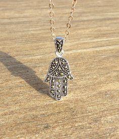 cubic zircon tiny hamsa, Small Silver Cubic #jewelry #necklace @EtsyMktgTool http://etsy.me/2wGkQu9 #silverhamsa #silverhamsapendant