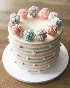 Repost from Stripes & Pom poms 😍 which cake do you prefer? Cake Decorating For Beginners, Cake Decorating Techniques, Decorating Ideas, Beautiful Birthday Cakes, Beautiful Cakes, Cupcakes, Cupcake Cakes, Cake Pops, Delicous Desserts