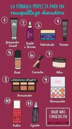 pasos para maquillarse steps to make up # Make up Makeup 101, Makeup Guide, Beauty Makeup Tips, Beauty Make Up, Skin Makeup, Makeup Inspo, Makeup Inspiration, Makeup Brushes, Beauty Hacks
