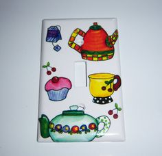Tea time single light switch cover by MoanasUniqueDesigns on Etsy, $10.00