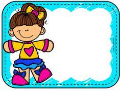 Gafetes escolares infantiles preescolar imprimir Classroom Labels, Classroom Organisation, School Binder Covers, Cartoon Sun, Cute Kids Crafts, Frame Layout, 3rd Grade Writing, School Labels, School Frame