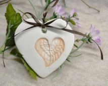 Polymer Clay Heart Ornament -Guardian Angel Wing Ornament -Polymer Clay Ornament -Angel Wings - Memorial Gifts -In Memory Ornament