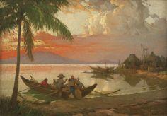Fernando Amorsolo - Sunset at Manila Bay 1937 Manila, Decor Ideas, Sunset, History, Artist, Painting, Historia, Artists, Painting Art