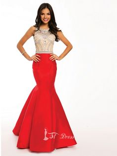 db1cfaac800 Mermaid sleeveless floor length satin blend gown with an open back and  crystal embellished bodice