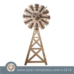 Windmill Clock with Fruits of the Spirit (English) Windmill Clock, Clock Template, Old Windmills, Fruit Of The Spirit, Scroll Saw Patterns, Visual Effects, Laser Cutting, Teacher Gifts, Free Design
