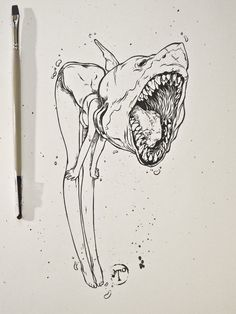 you can be anything you want to / shark girl drawing / art / illustration Art And Illustration, Inspiration Art, Art Inspo, Drawing Sketches, Art Drawings, Crazy Drawings, Drawing Art, Art Zombie, Ralph Steadman