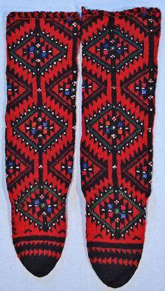 Woollen handknitted man's socks.  From the village of Injevo, near Radoviš (eastern Macedonia).  1970s.  (British Museum, London).